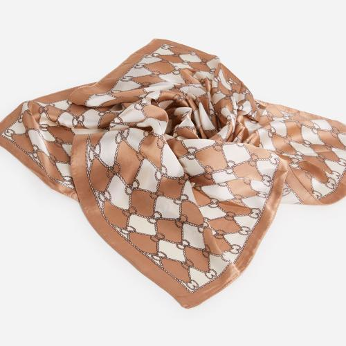 Braided Pattern Bandana Scarf In Nude And White