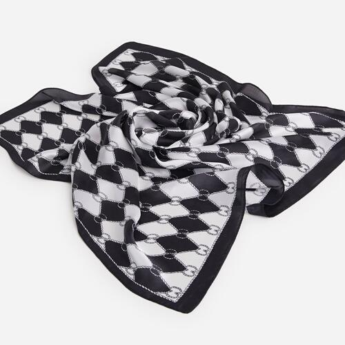 Braided Pattern Bandana Scarf In Black And White
