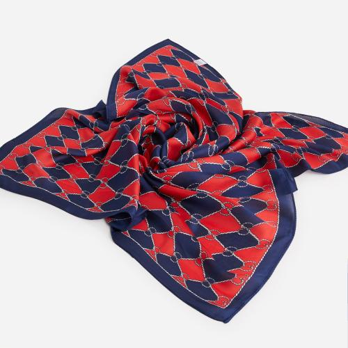 Braided Pattern Bandana Scarf In Red And Blue