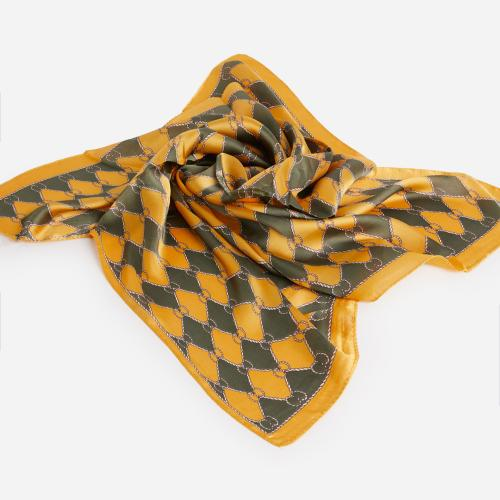 Braided Pattern Bandana Scarf In Yellow And Grey