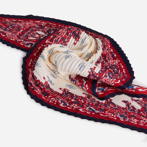 Textured Printed Bandana Scarf In Red