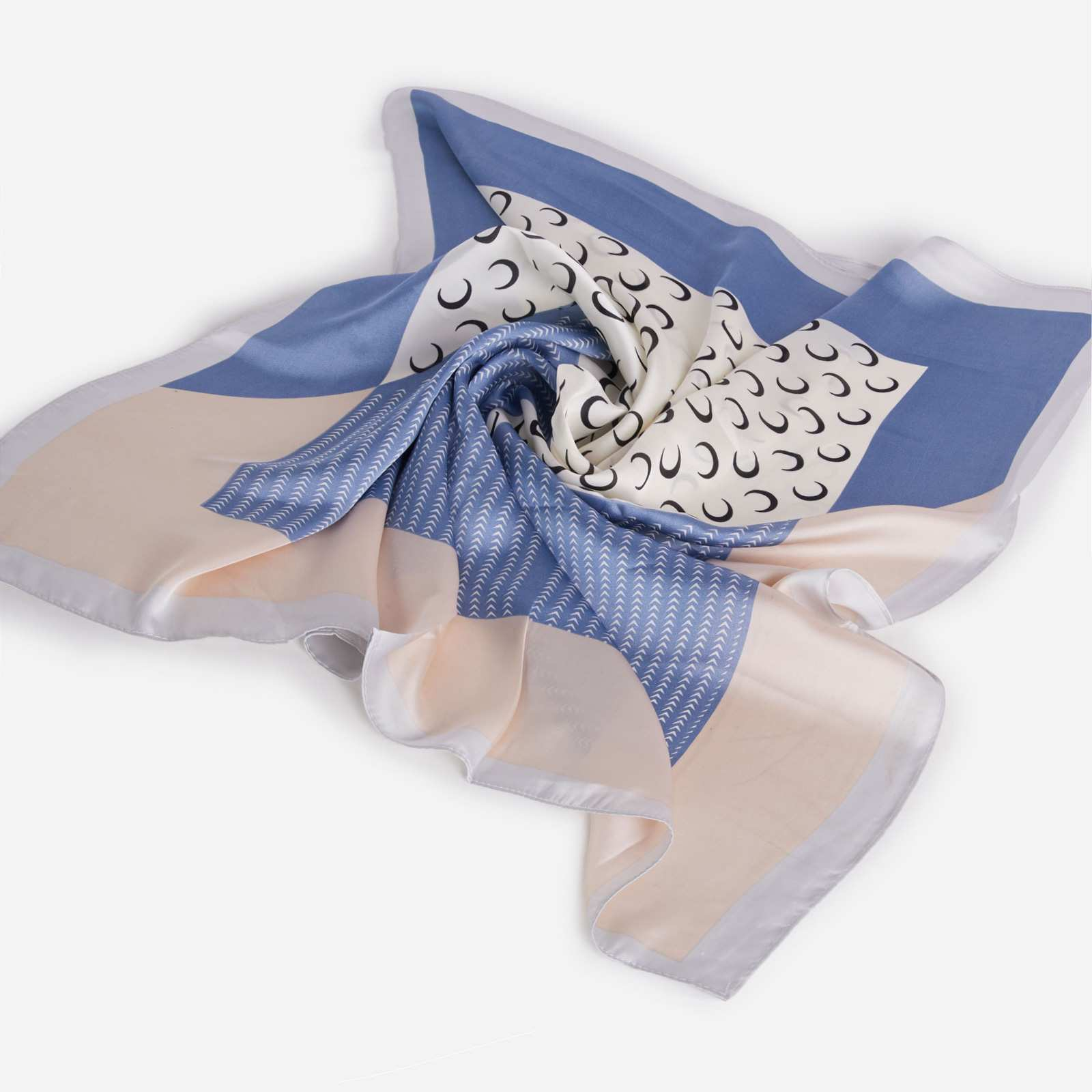 Crescent Print Bandana Scarf In White And Blue