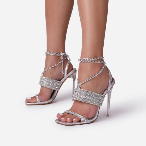 La-Scene Chain Detail Lace Up Square Toe Clear Perspex Heel In Silver Faux Leather