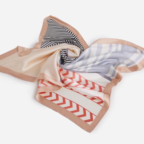 Striped Bandana Scarf In Nude