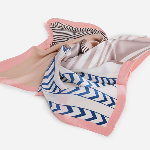 Striped Bandana Scarf In Pink