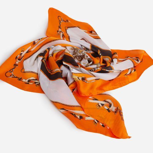 Chain Pattern Bandana Scarf In Orange