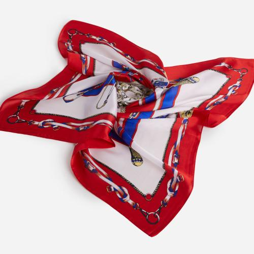Chain Pattern Bandana Scarf In Red