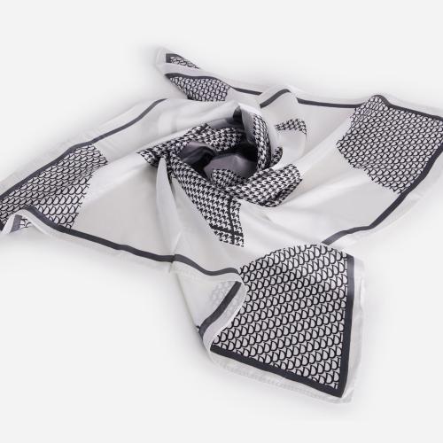 Scale Print Bandana Scarf In White