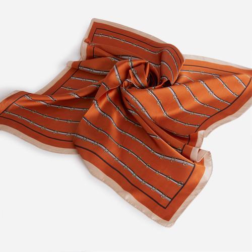 Stripe Detail Bandana Scarf In Orange