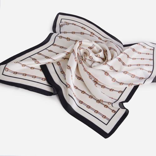 Stripe Detail Bandana Scarf In White