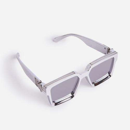 Oversized Square Sunglasses In Silver