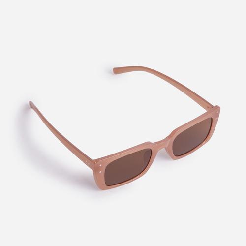Square Retro Sunglasses In Brown