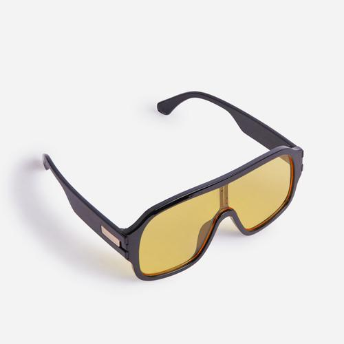 Cut out Detail Aviator Sunglasses In Yellow