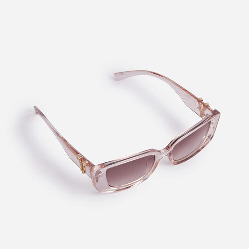 Logo Detail Sunglasses In Champagne