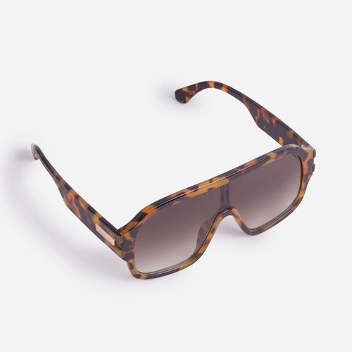 Cut out Detail Aviator Sunglasses In Leopard