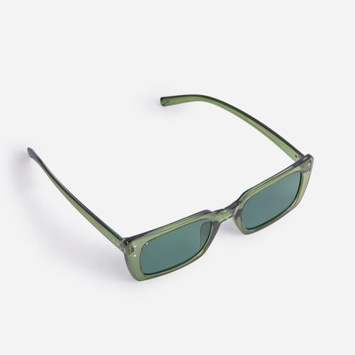 Square Retro Sunglasses In Green