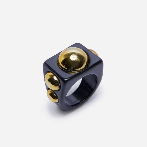 Stud Detail Plastic Ring In Black