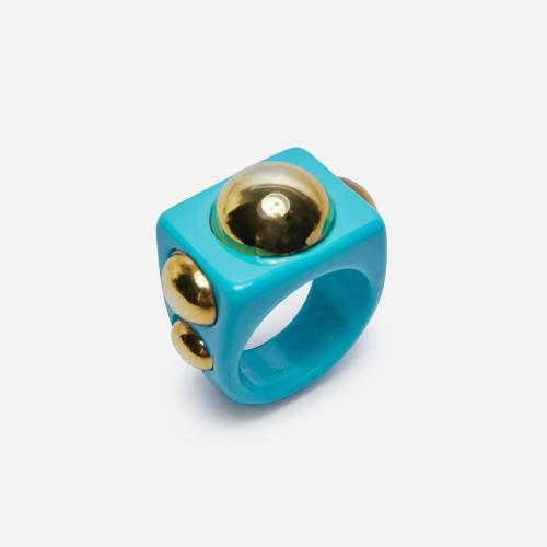Stud Detail Plastic Ring In Blue