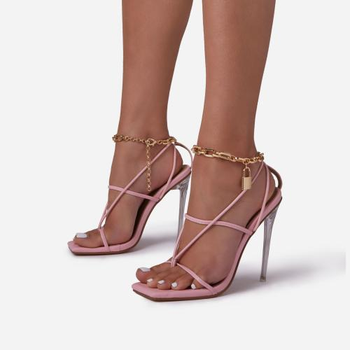 Tinsel Chain Padlock Detail Square Toe Clear Perspex Heel In Pink Faux Leather