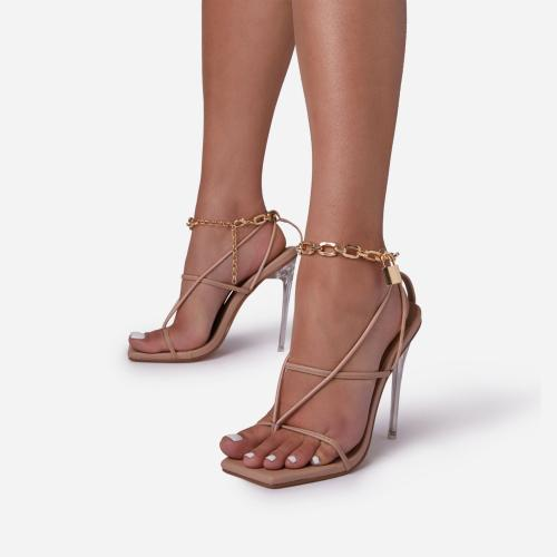 Tinsel Chain Padlock Detail Square Toe Clear Perspex Heel In Nude Faux Leather
