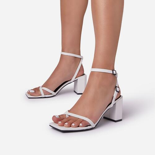 Amal Wide Fit Toe Post Strap Barely There Square Toe Low Block  Heel In White Faux Leather