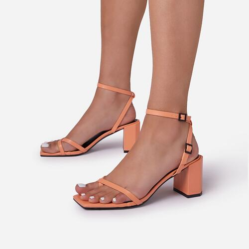 Amal Toe Post Strap Barely There Square Toe Low Block  Heel In Orange Faux Leather