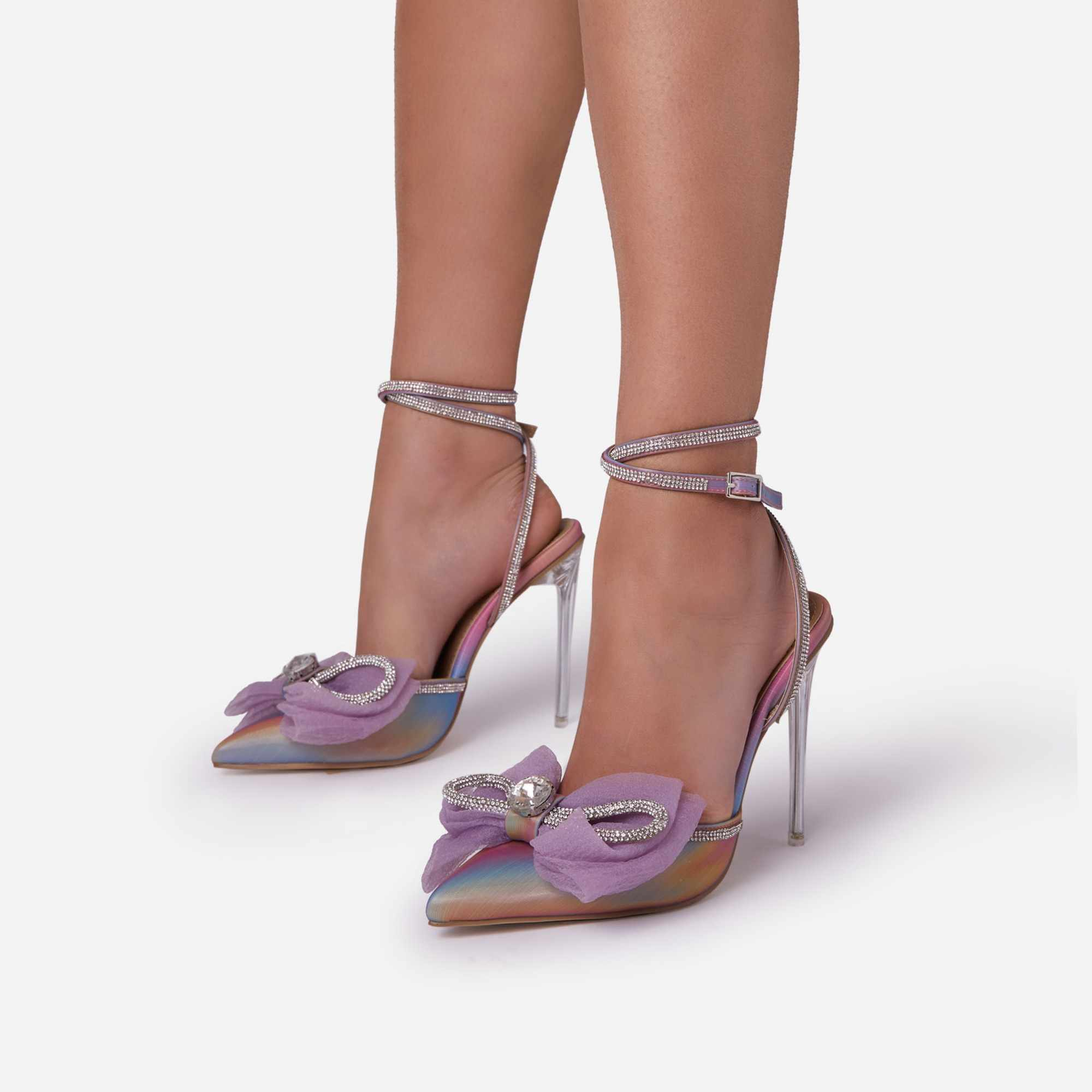 Chriselle Bow Detail Diamante Lace Up Clear Perspex Heel In Rainbow Iridescent Faux Leather