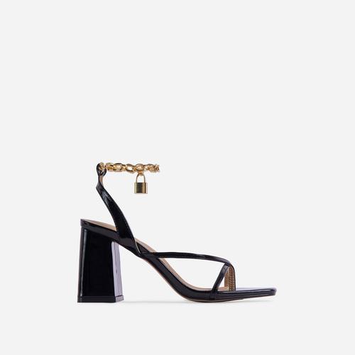 Boca Chain Padlock Detail Square Toe Block Heel In Black Faux Leather