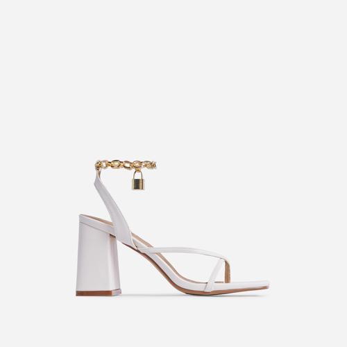 Boca Chain Padlock Detail Square Toe Block Heel In White Faux Leather