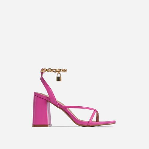 Boca Chain Padlock Detail Square Toe Block Heel In Pink Faux Leather