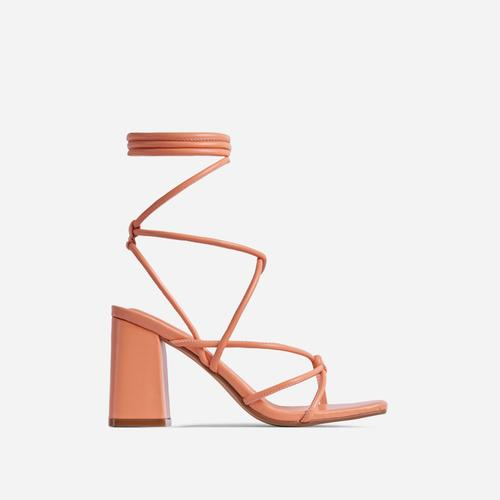 Ballerine Knotted Strappy Detail Lace Up Square Toe Block Heel In Orange Faux Leather