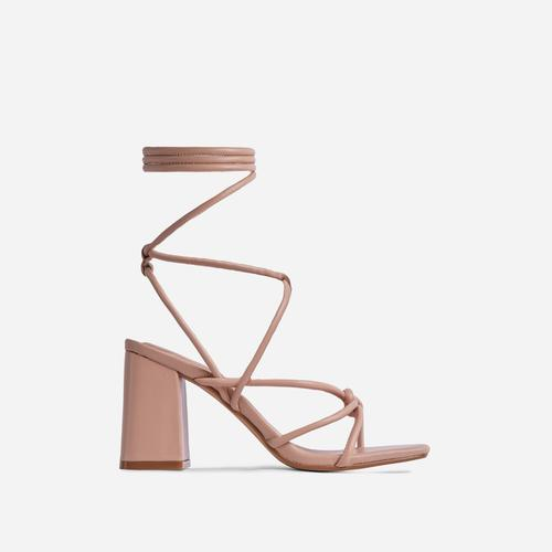 Ballerine Knotted Strappy Detail Lace Up Square Toe Block Heel In Nude Faux Leather