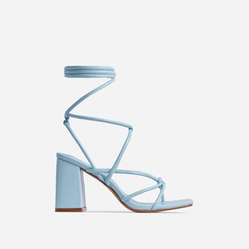 Ballerine Knotted Strappy Detail Lace Up Square Toe Block Heel In Blue Faux Leather