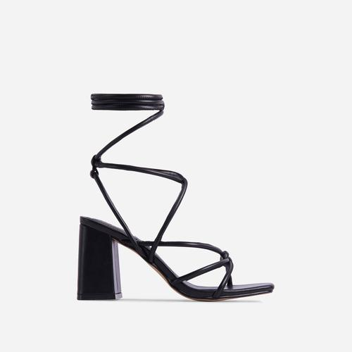 Ballerine Knotted Strappy Detail Lace Up Square Toe Block Heel In Black Faux Leather
