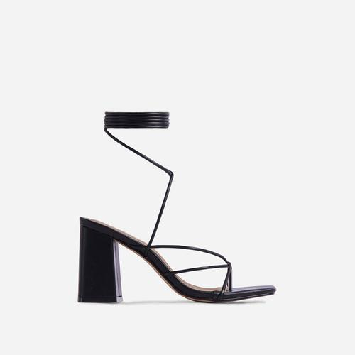 Deena Strappy Detail Lace Up Square Toe Lace Up Low Block Heel In Black Faux Leather