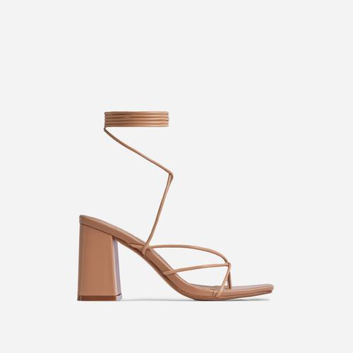 Deena Strappy Detail Lace Up Square Toe Lace Up Low Block Heel In Nude Faux Leather