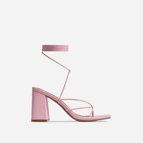 Deena Strappy Detail Lace Up Square Toe Lace Up Low Block Heel In Pink Faux Leather