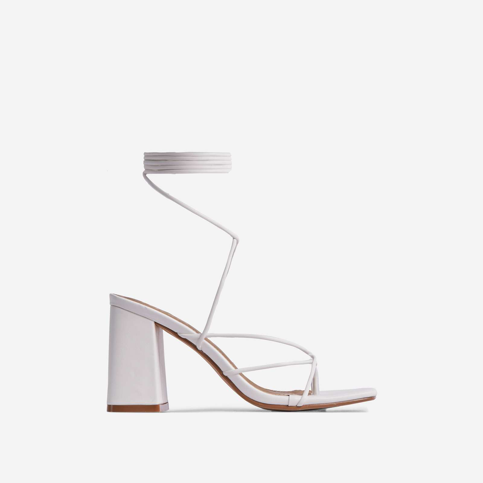 Deena Strappy Detail Lace Up Square Toe Lace Up Low Block Heel In White Faux Leather