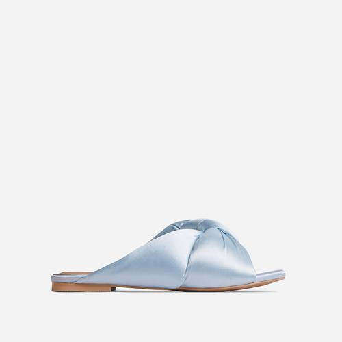 Naturally Padded Knotted Detail Flat Slider Sandal In Blue Satin