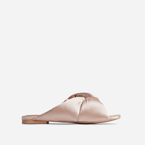 Naturally Padded Knotted Detail Flat Slider Sandal In Nude Satin