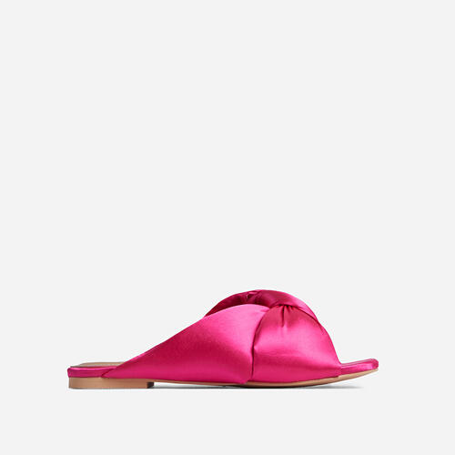 Naturally Padded Knotted Detail Flat Slider Sandal In Pink Satin