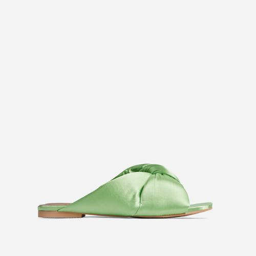 Naturally Padded Knotted Detail Flat Slider Sandal In Mint Green Satin