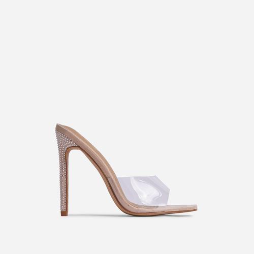 Gwyneth Clear Perspex Diamante Detail Heel Mule In Nude Faux Suede