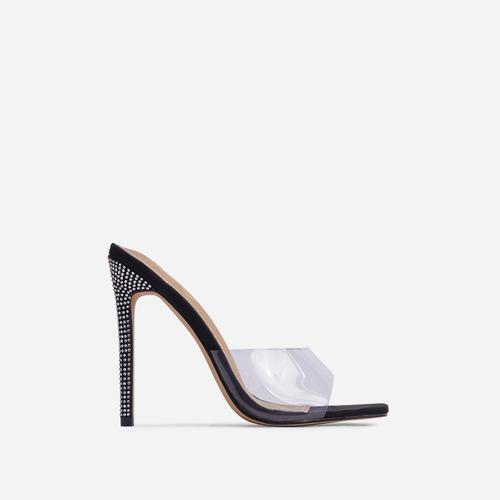 Gwyneth Clear Perspex Diamante Detail Heel Mule In Black Faux Suede