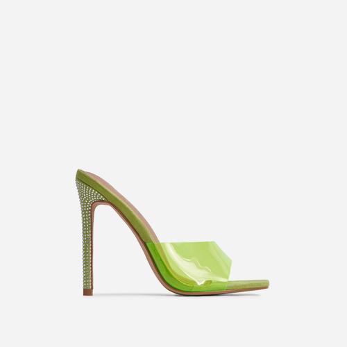 Gwyneth Perspex Diamante Detail Heel Mule In Green Faux Suede