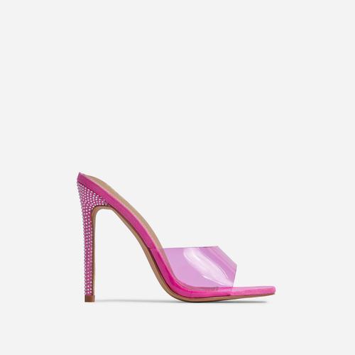 Gwyneth Perspex Diamante Detail Heel Mule In Pink Faux Suede