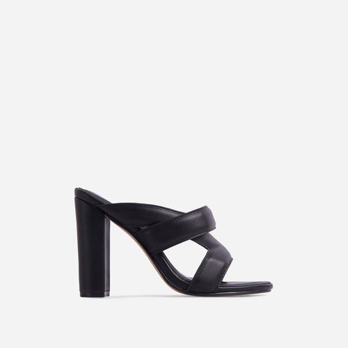 One-Up Cross Strap Detail Block Heel Mule In Black Faux Leather