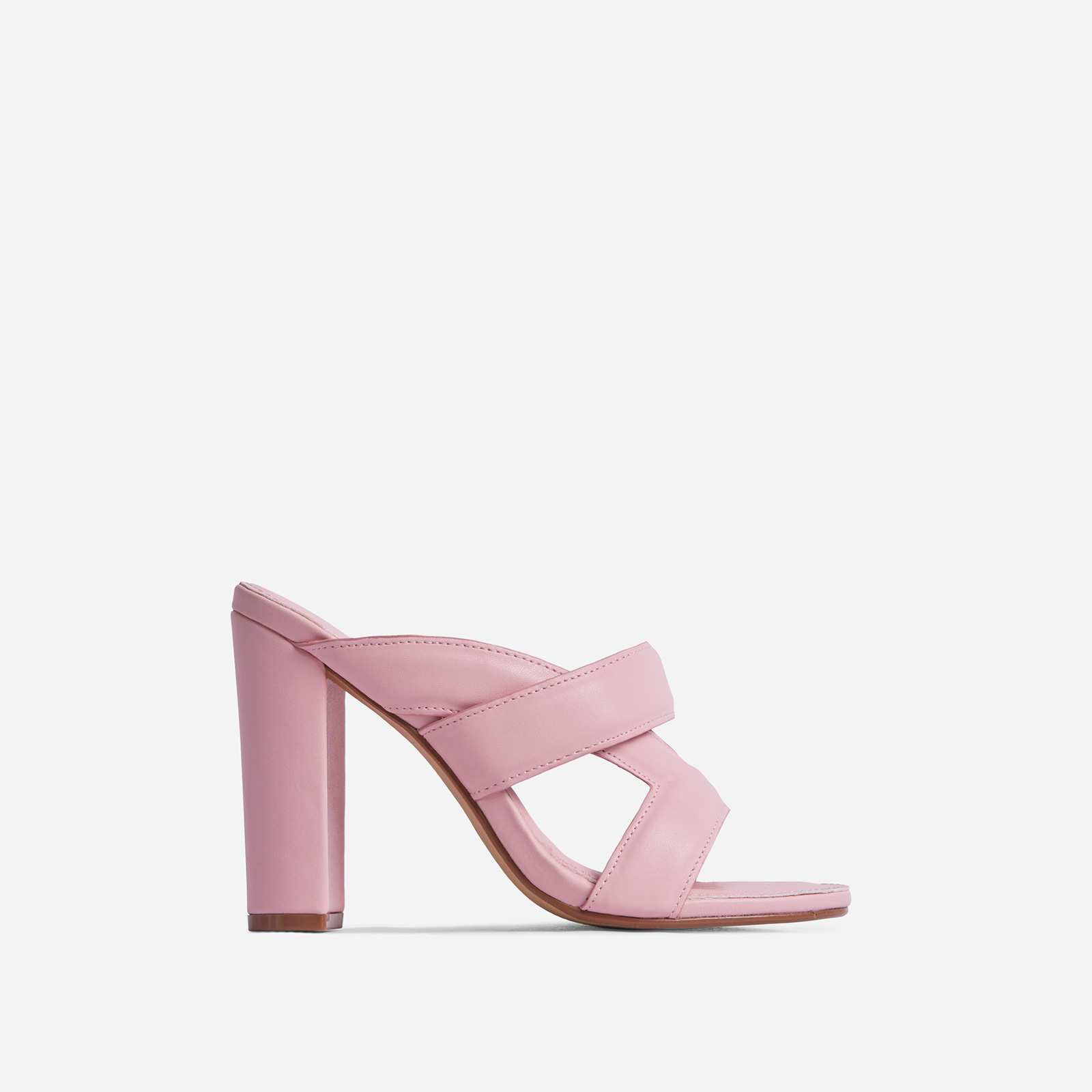 One-Up Cross Strap Detail Block Heel Mule In Pink Faux Leather