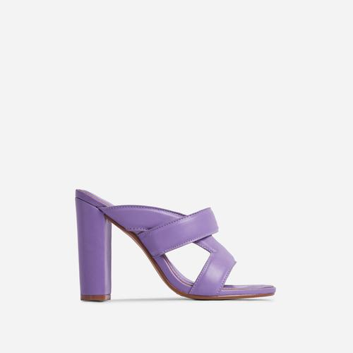 One-Up Cross Strap Detail Block Heel Mule In Purple Faux Leather