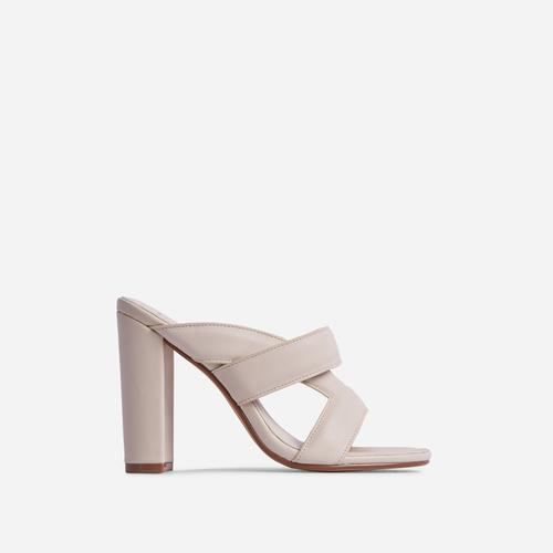One-Up Cross Strap Detail Block Heel Mule In Cream Nude Faux Leather